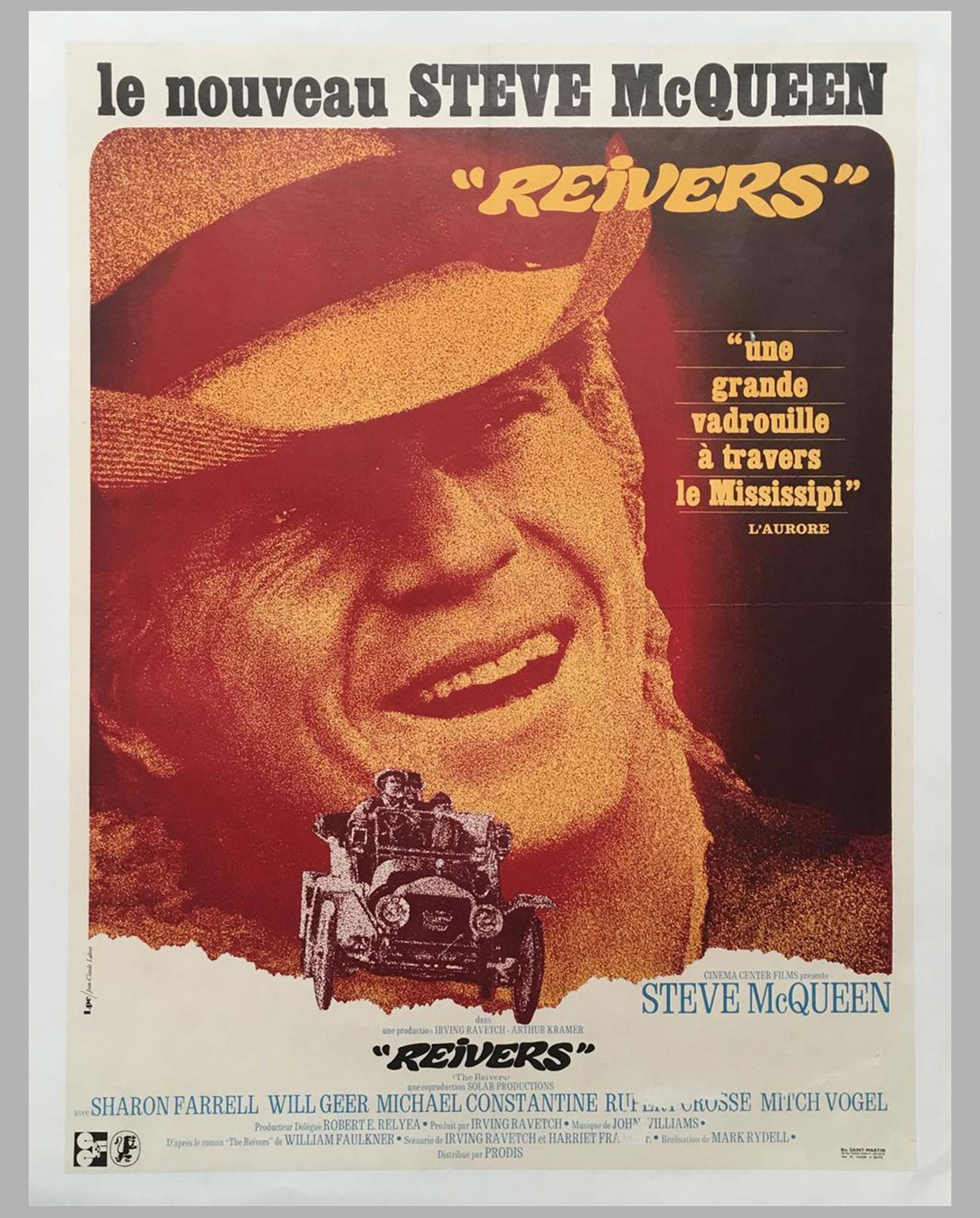 1969 Reivers original movie poster, French edition, with Steve McQueen
