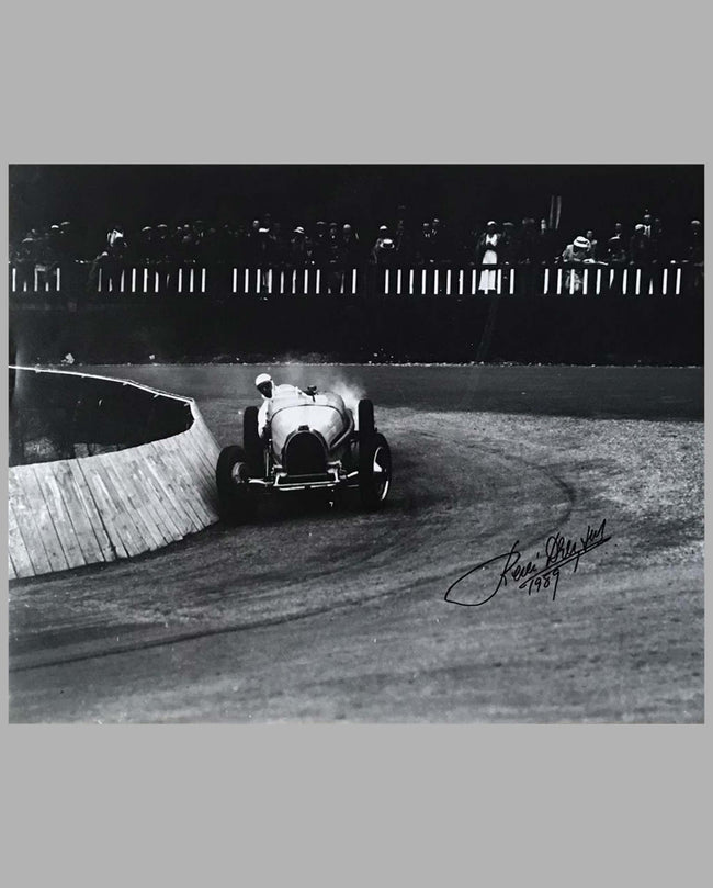 René Dreyfus in his Bugatti T35, autographed b&w photo