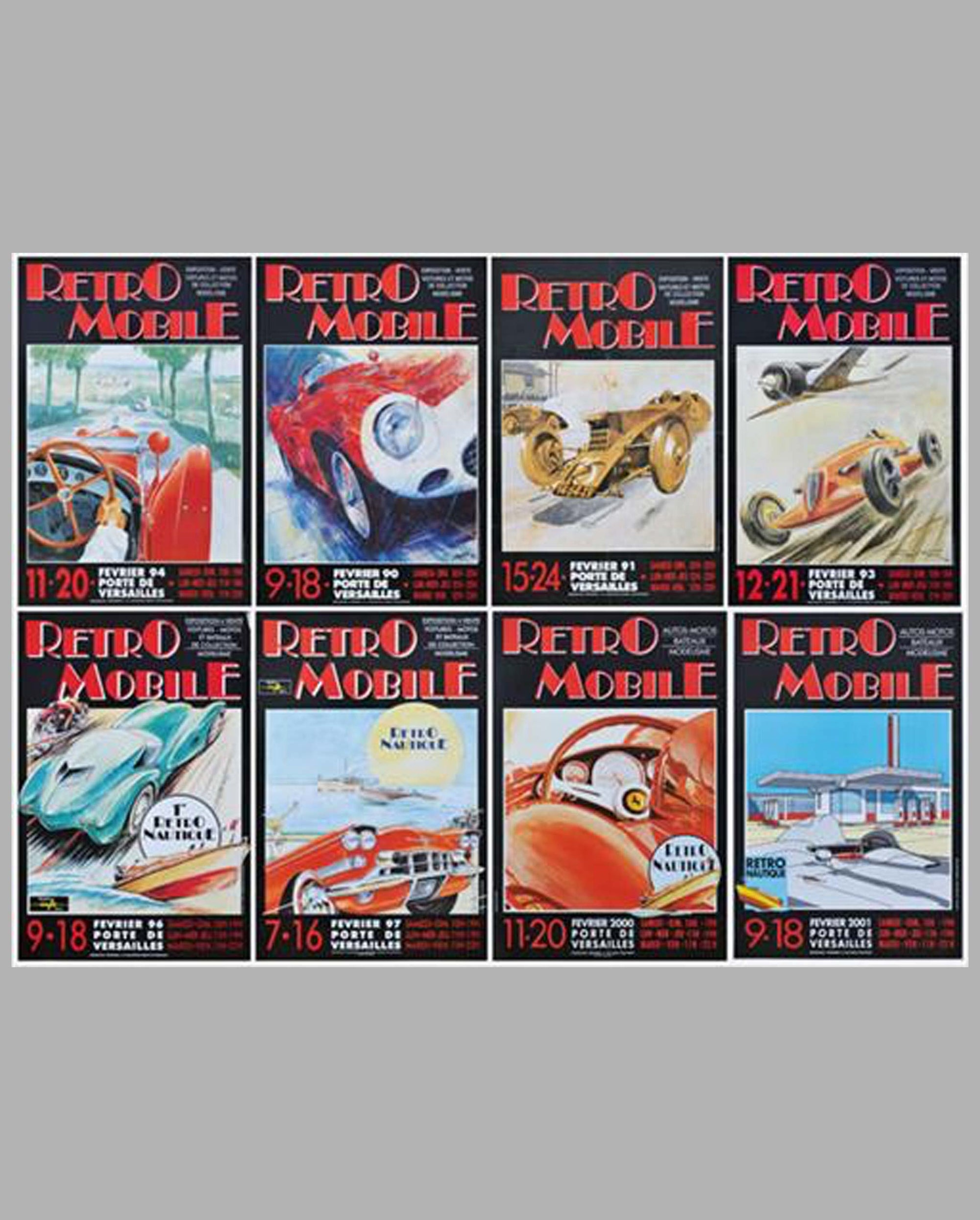 Retromobile event posters from the annual vintage car show in Paris, lot of 8