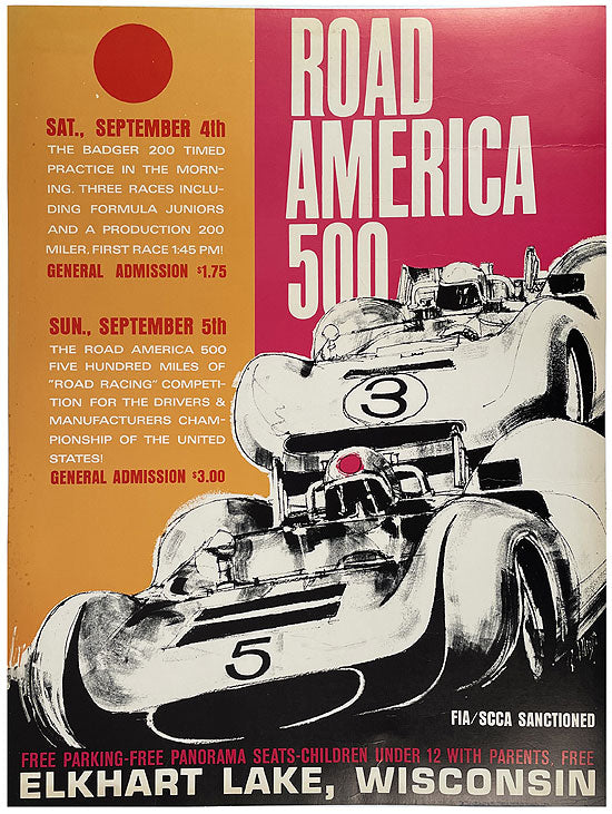 1965 Road America 500 original race poster