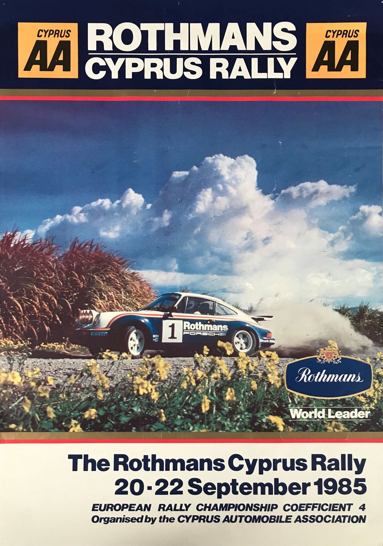 The Rothmans Cyprus Rally 1985 official poster, Porsche 911