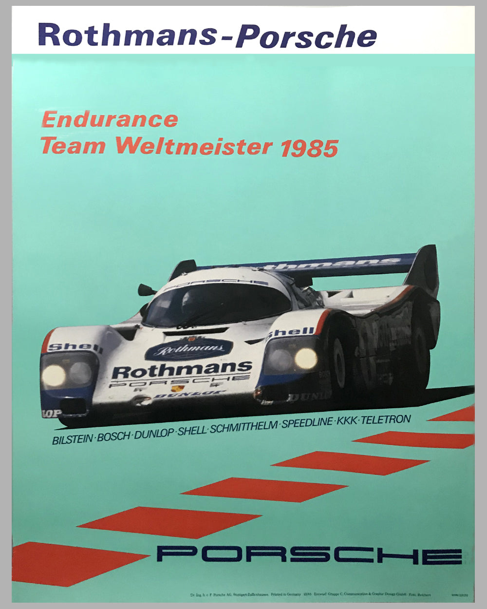 1985 World Endurance Manufacturer Champion Porsche Victory Poster