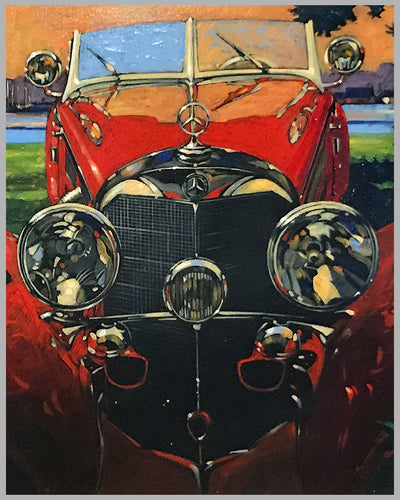 Mercedes-Benz 500K Acrylic on Canvas Painting by Barry Rowe 3