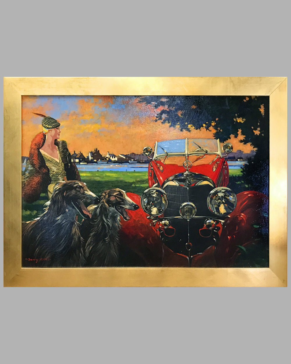 Mercedes-Benz 500K Acrylic on Canvas Painting by Barry Rowe