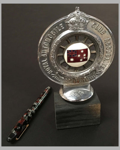 Royal Automobile Club of Victoria Australia hood ornament on wooded base, back