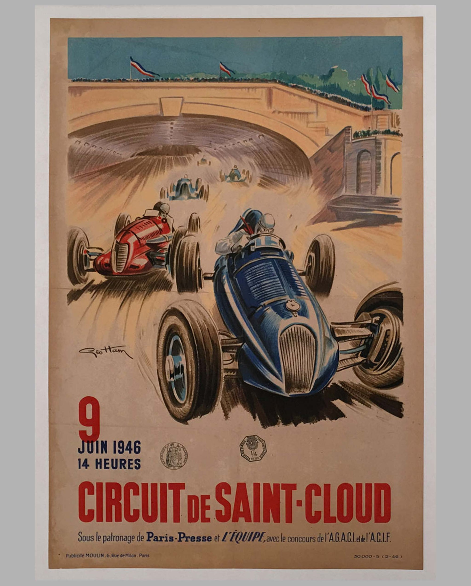 1946 Circuit de Saint-Cloud original poster by Geo Ham