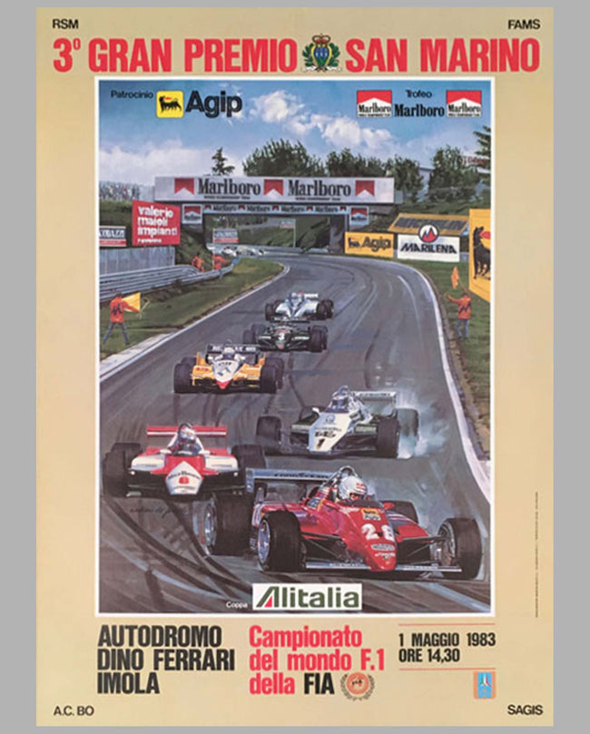 3eme Grand Prix of San Marino at Imola, Italy, 1983, original poster
