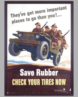 Save Rubber original World War II propaganda poster by W. Richards