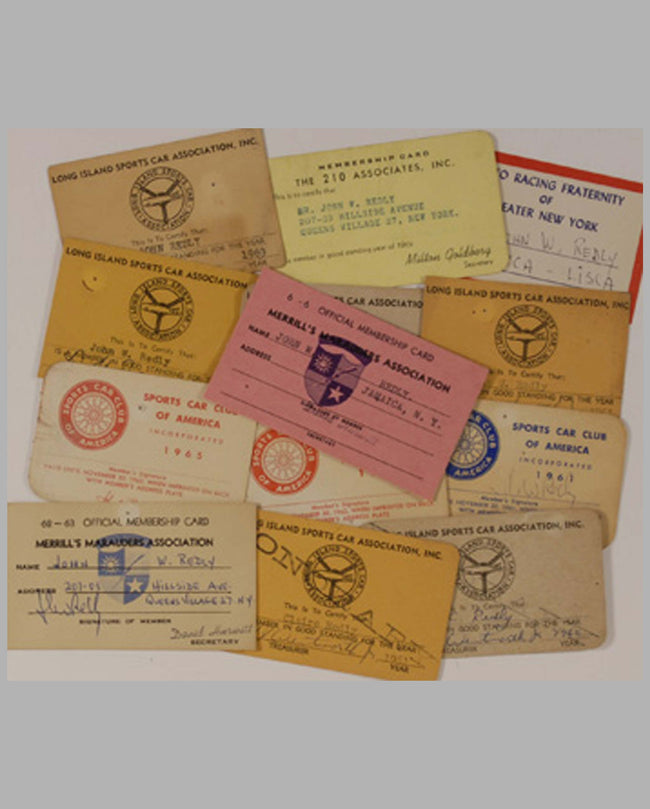 Early 1960's SCCA/Sports Car related membership cards