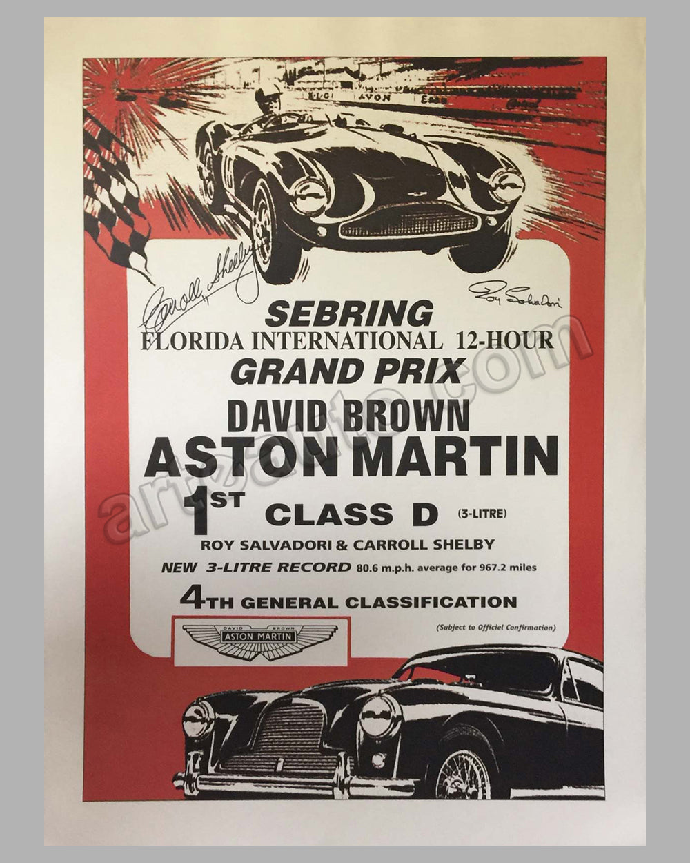 Aston Martin factory victory poster for the 12 hours of Sebring in 1956, Autographed Carroll Shelby and Roy Salvador