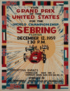 1959 Grand Prix of the U.S. at Sebring reproduction poster, autographed