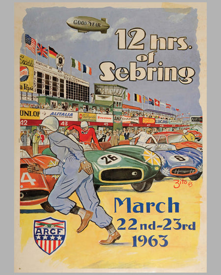 12 Hours of Sebring 1963 original event poster by Zito