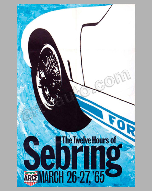 12 Hours of Sebring 1965 original event poster by Ron Kambourian