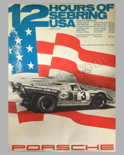 12 Hours of Sebring original victory poster 1971