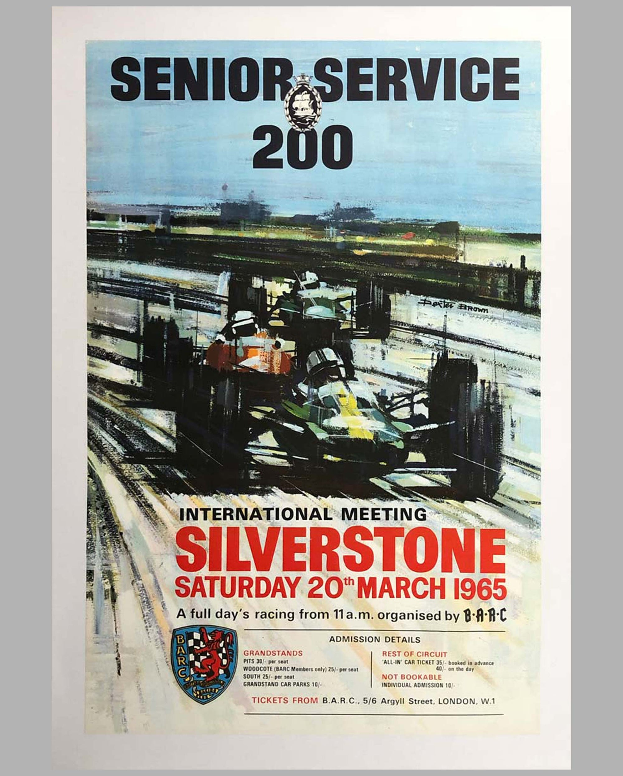 1965 Senior Service 200 at Silverstone original advertising Poster