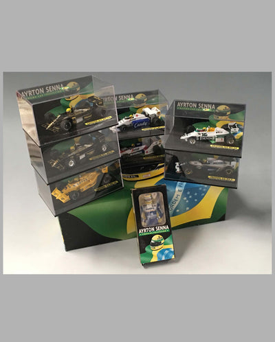 Collection of 20 models of different Ayrton Senna race cars