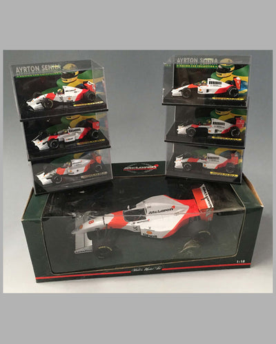 Collection of 20 models of different Ayrton Senna McClaren Team race cars