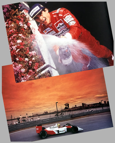 Color photographs of Ayrton Senna and his McLaren MP4 Honda