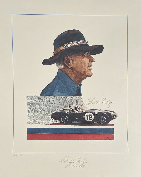 """Carroll Shelby and his Cobra"" print by the late Bill Neale, autographed by Shelby"
