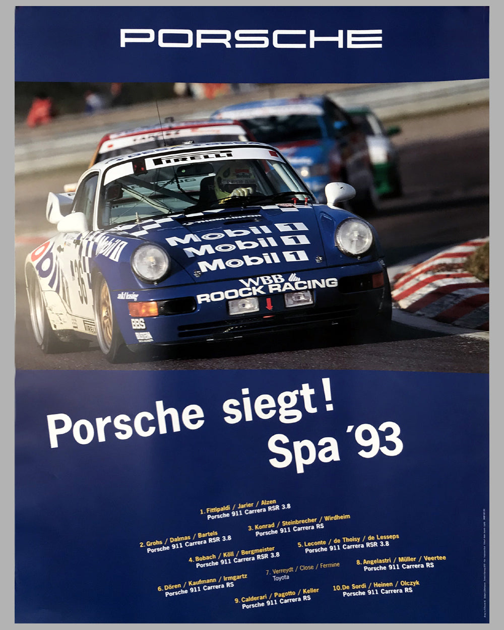 1993 Porsche Wins! at 24 Hours of Spa Victory Poster