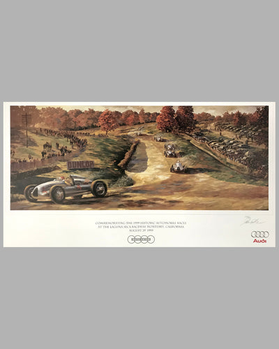 Silver Arrows at 1938 GP Donington print by John Gable