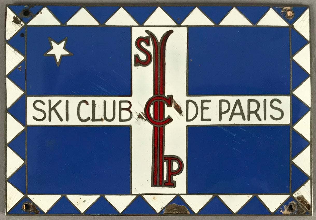 Ski Club de Paris enamel on brass dash plaque, 1930's