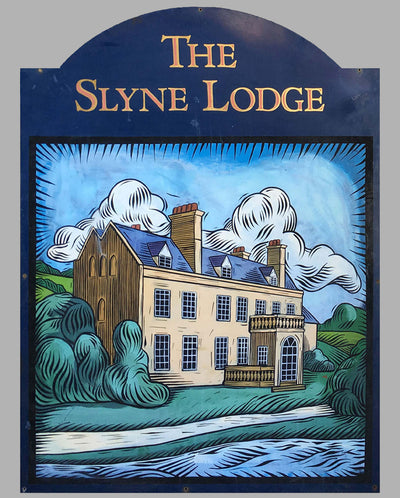 The Slyne Lodge large metal enamel sign