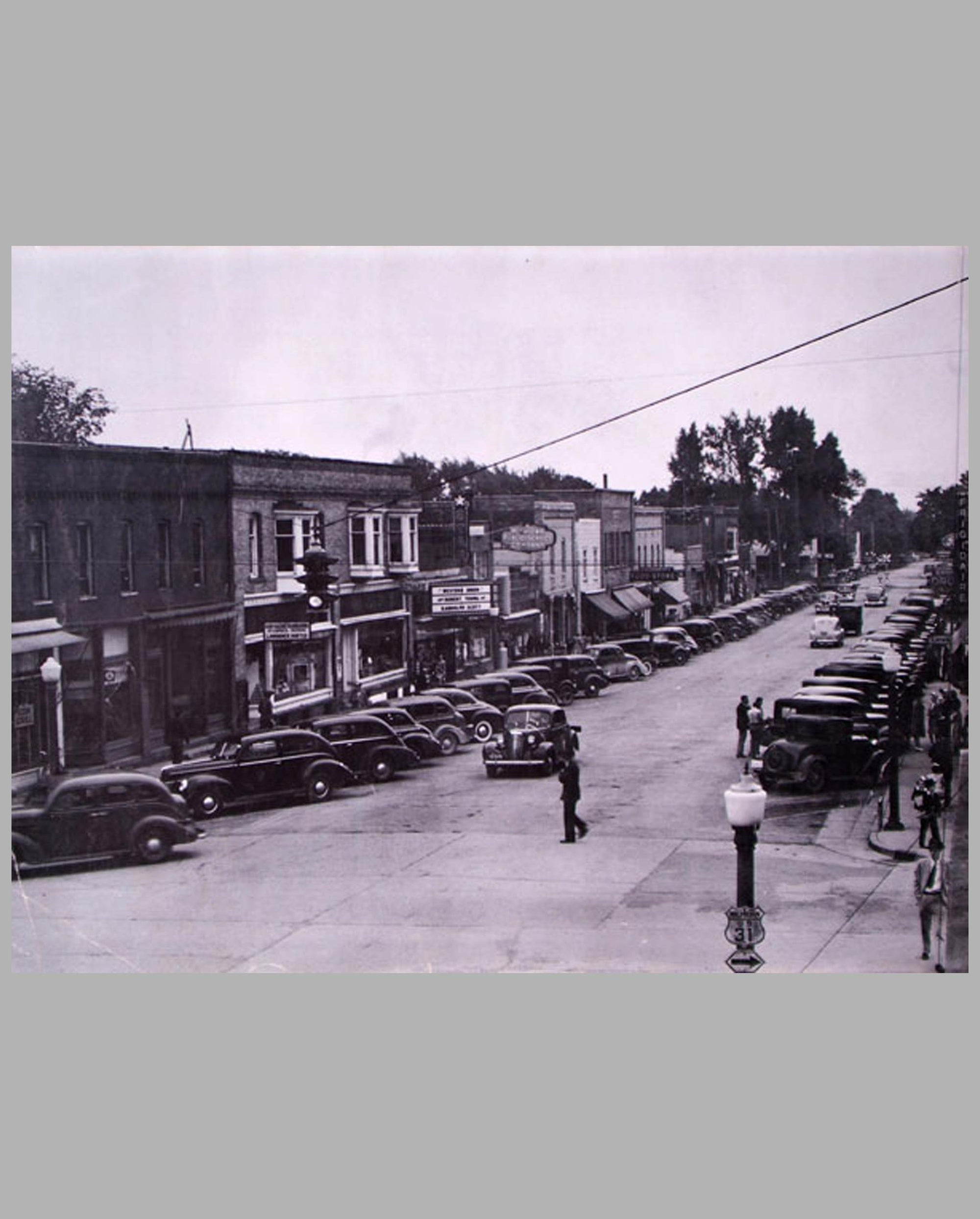 Small town Michigan Downtown 1941 large period photograph