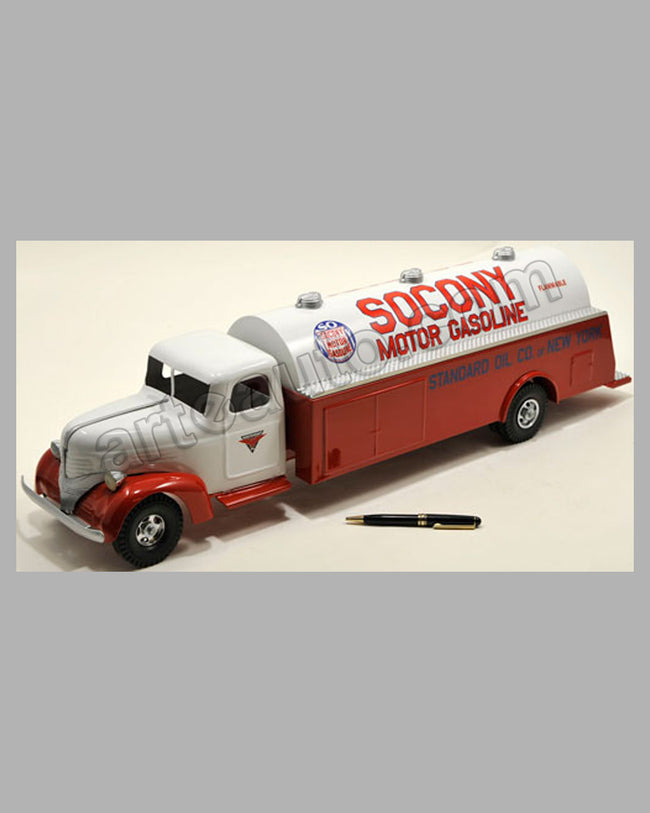 Socony Motor Gasoline large tanker truck toy , USA