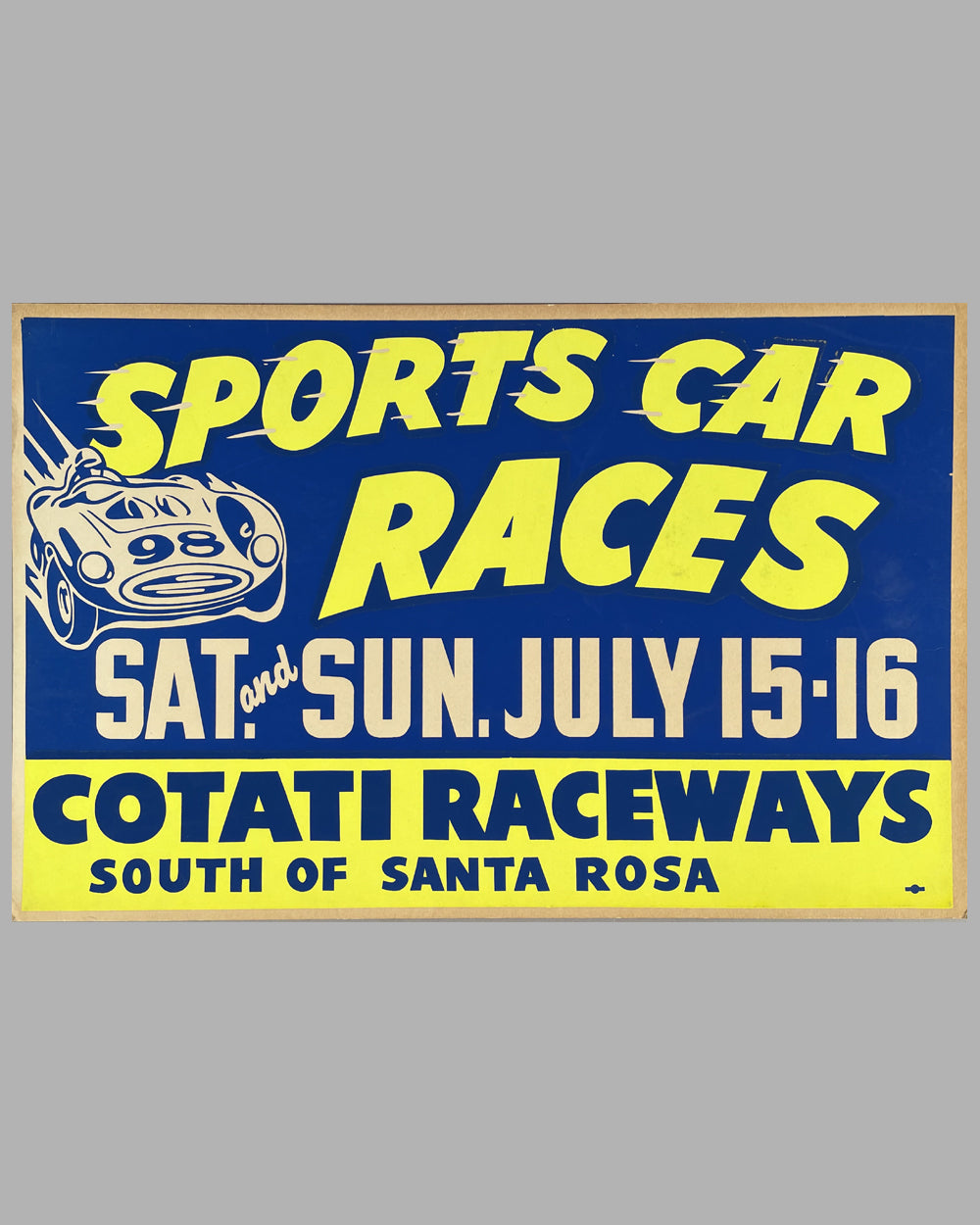 Sports Car Races original poster for Cotati Raceways, CA, in July 1961