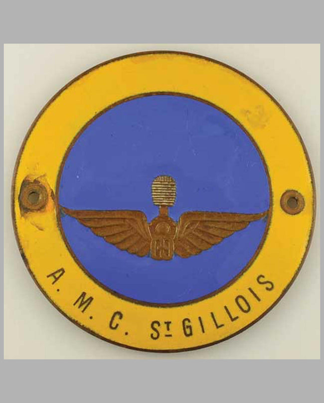 A. M. C. St. Gillois member's badge, enamel on metal
