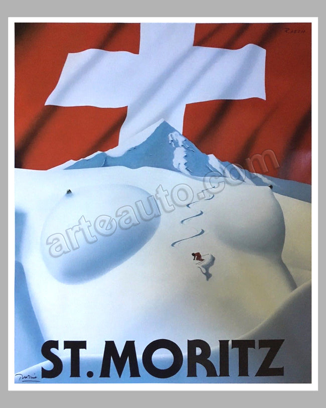St Moritz large original poster by Razzia