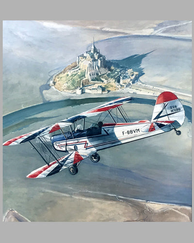 Stampe du Club de la Snecma-Meaux watercolor painting on board by Abelin 2