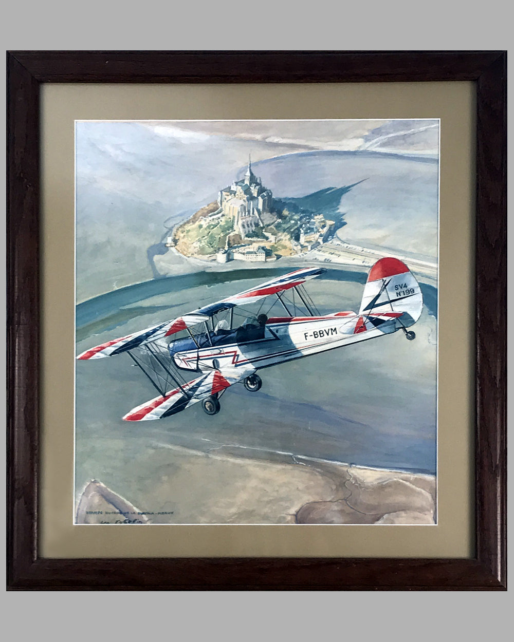 Stampe du Club de la Snecma-Meaux watercolor painting on board by Abelin