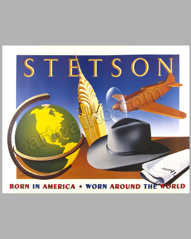 Stetson Hats large original advertising poster by Razzia