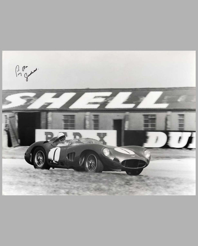 Stirling Moss and the Aston Martin DBR1 Photograph, autographed