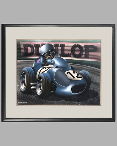 Stirling Moss and his Mercedes large painting by Frederic Tellier