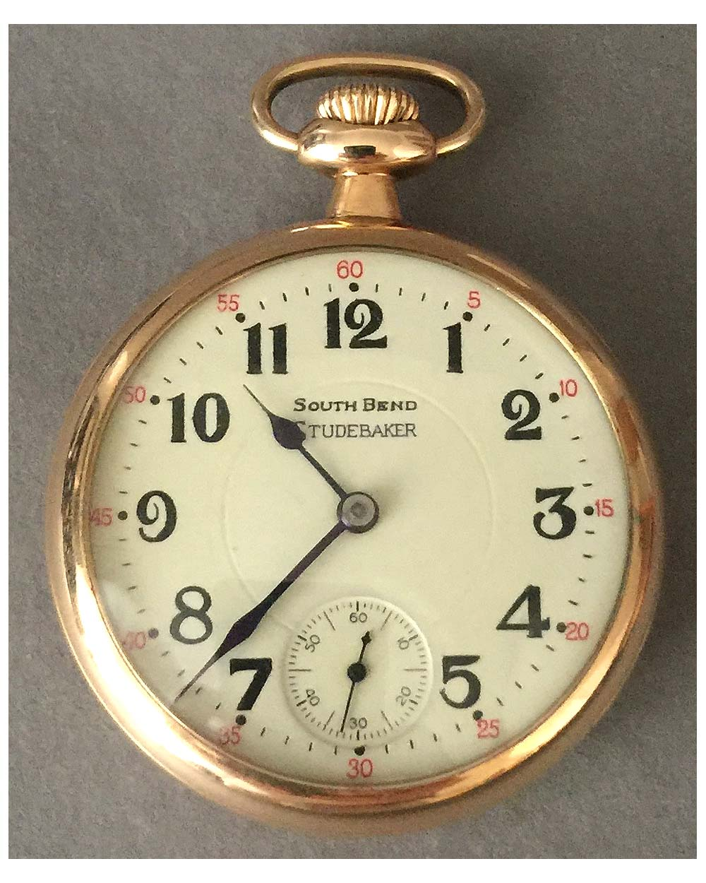 "Studebaker pocket watch By South Bend<br><span style=""color: #ff0000;"">$990 -25% = $743</span>"