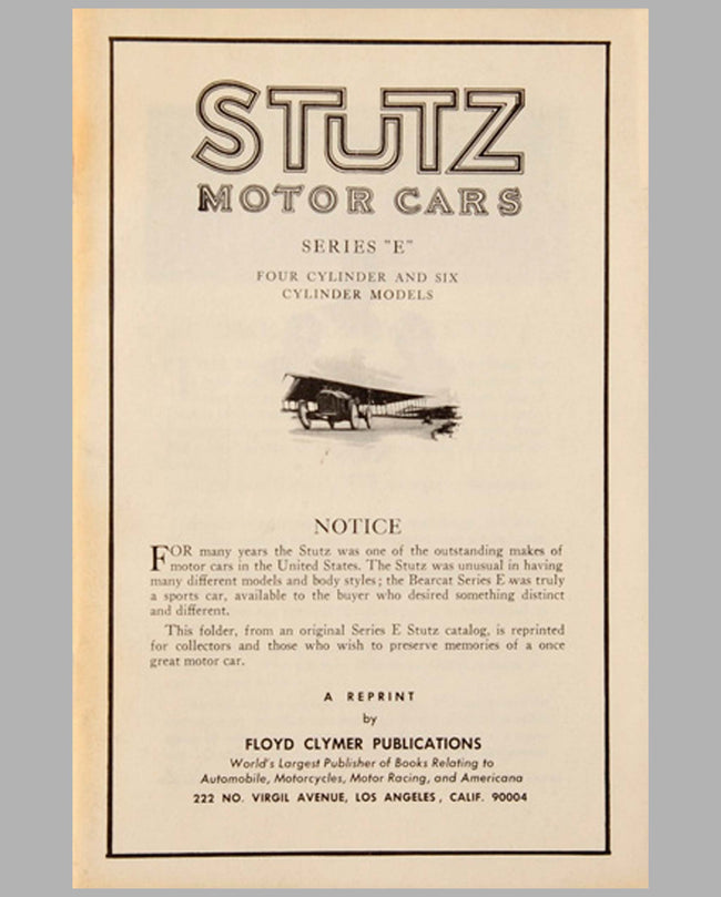 Stutz Motor Cars Series E sales catalog reprint by F. Clymer
