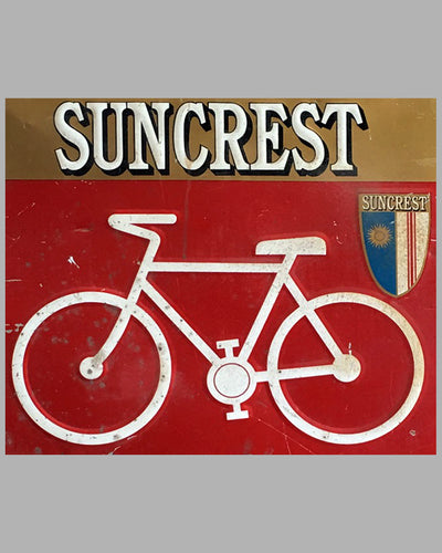 1970's Large Suncrest Bicycle U.S.A. Embossed Tin Sign 2