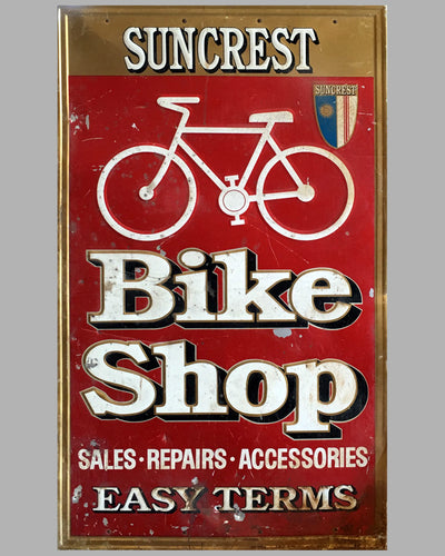 1970's Large Suncrest Bicycle U.S.A. Embossed Tin Sign