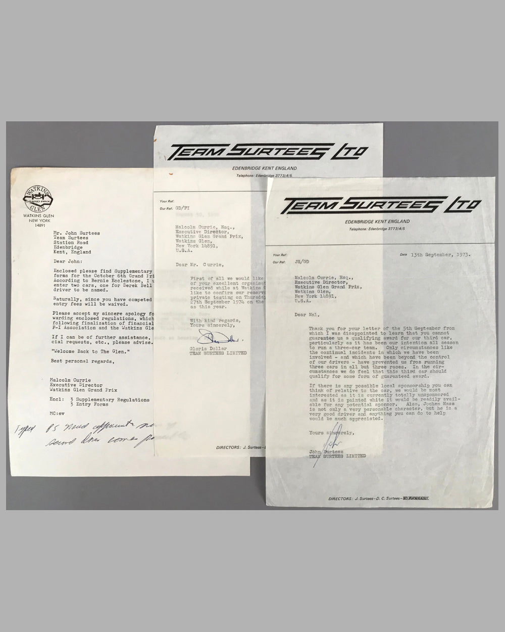 Three Team Surtees letters on company stationery between Malcom Currie at Watkins Glen
