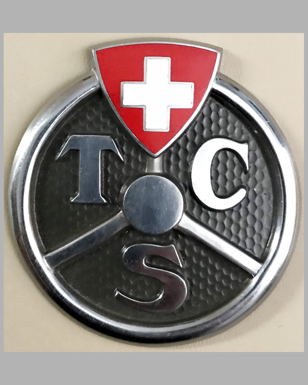 Touring Club of Switzerland car grill badge, 1950's