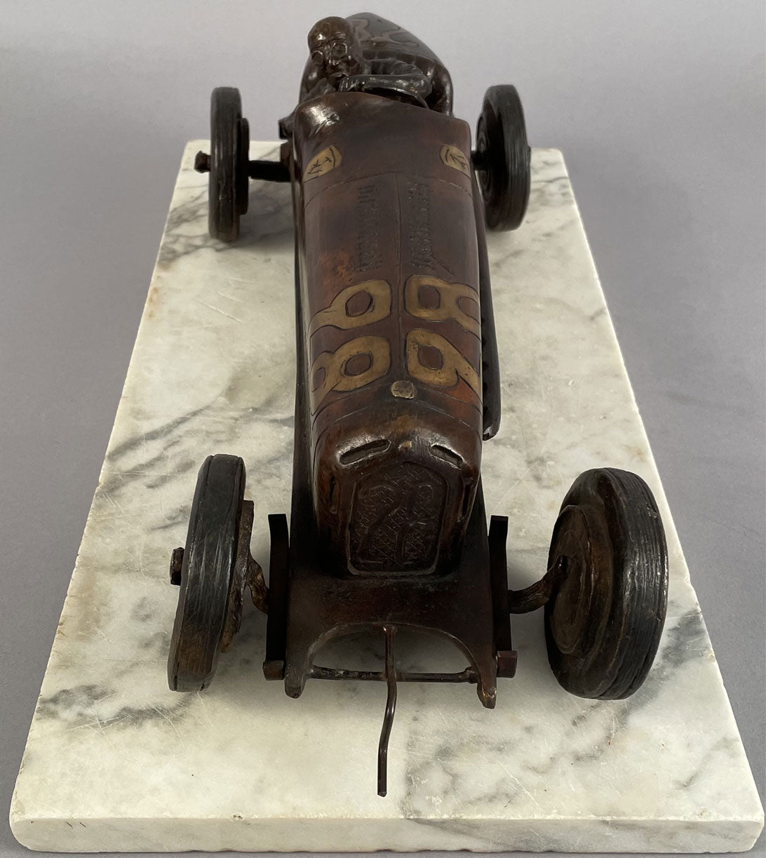 Tazio Nuvolari Alfa Romeo bronze sculpture by Gordon Chism, 1992