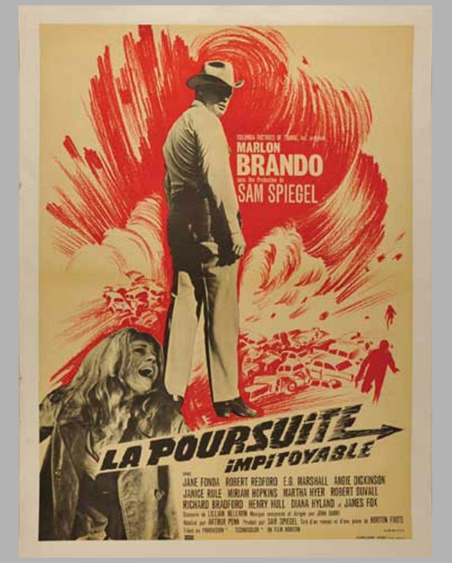"1966 original movie poster, ""La Poursuite Impitoyable"" (The Chase)"