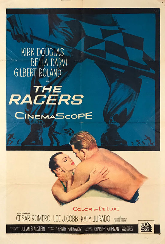 The Racers original movie poster, 1955, Kirk Douglas - $225.00