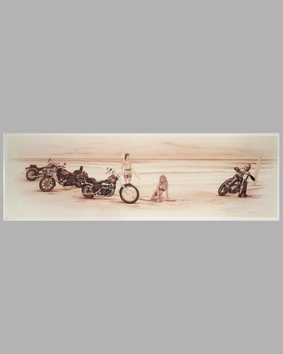 The Eighties - Harleys on the Beach sepia-tone print by Francois Bruere