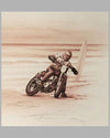 The Eighties - Harleys on the Beach sepia-tone print by Francois Bruere 2