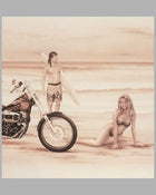 The Eighties - Harleys on the Beach sepia-tone print by Francois Bruere 3