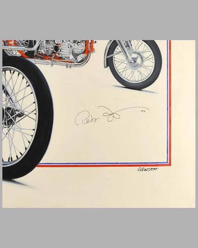 """Together Again"" painting by Harold Cleworth, 30th anniversary ""Easy Rider"", autographed by Peter Fonda 2"